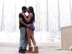 Stunning ebony t-girl Nya Bella knows how to make guy horny.