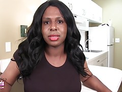 Dee London is a horny and curvy tgirl with a hot body, big tits, a huge hard cock and a juicy round ass! See this sexy transgirl stroking her big cock!