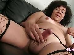 Black She-Male Gina Pleasures Herself 2