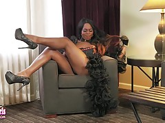 Vivian Spice is a stunning black Grooby girl with an amazing body, big boobs, a juicy ass and a rock hard cock! Enjoy this hot transgirl shaking her sexy butt and stroking her hard dick!
