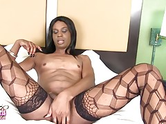 Sexy Denisha has a hot slim body, budding hormone breasts, a sexy bubble butt and a rock hard cock! Enjoy this hot transgirl stroking her hard cock!