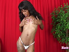 Beautiful Baby Doll is back and she brought a dildo! This hot transgirl has a sexy slim body, natural breasts, a delicious cock and a sexy round bubble butt! Enjoy this hot Grooby girl fucking herself with her dildo!