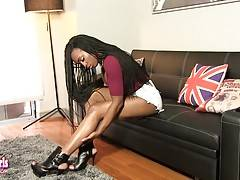 Tiara is a beautiful tgirl with an amazing body, sexy boobs, a hot bubble butt and a delicious uncut cock! See this horny transgirl shaking her ass and stroking her cock!
